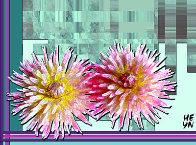 Two Dahlias Art Print by Shirley Heyn