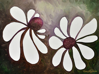 Painting - Two Daisies by Gina De Gorna