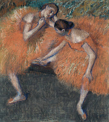 Retro Portret Painting - Two Dancers Around 1898 by Edgar Degas