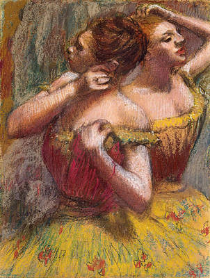 Backstage Pastel - Two Dancers by Edgar Degas