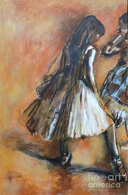 Painting - two dancers II after Degas by Jodie Marie Anne Richardson Traugott          aka jm-ART