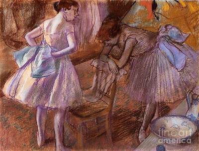 Dressing Room Mixed Media - Two Dancers In Their Dressing Room by Degas