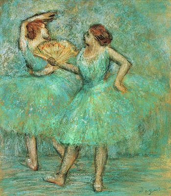 Mountain Landscape Rights Managed Images - Two Dancers On a Stage Wearing Turquoise Royalty-Free Image by Edgar Degas