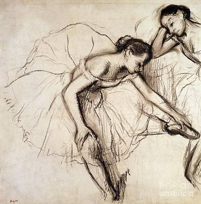 Female Drawing - Two Dancers Resting by Edgar Degas