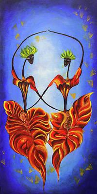 Ball Room Painting - Two Dancing Fairies by Nirdesha Munasinghe