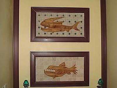 Stencil Of Elvis Mixed Media - Two Dead Fish by Robert Margetts