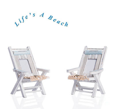Two Deck Chairs Art Print by Amanda Elwell