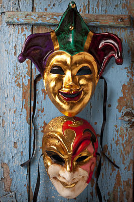 Jester Photograph - Two Decortive Masks by Garry Gay