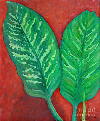 Painting - Two Dieffenbachia Leaves by Karen Adams