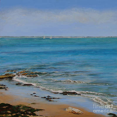 Incoming Tide Painting - Two Distant Sails by Sandra  Francis