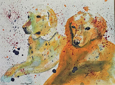 Painting - Two Dogs by Donald Paczynski