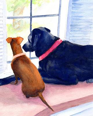 Watercolor Pet Portraits Wall Art - Painting - Two Dogs Looking Out A Window by Carlin Blahnik CarlinArtWatercolor