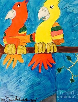 Drawing - Two Double Yelloe Headed Birds by Charita Padilla