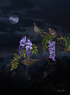 Digital Art - Mourning Doves In Moonlight by IM Spadecaller