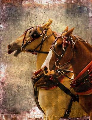 Digital Art - Two Draft Horses With Harness by Rusty R Smith