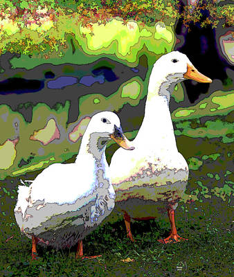 Sandpiper Mixed Media - Two Ducks by Charles Shoup