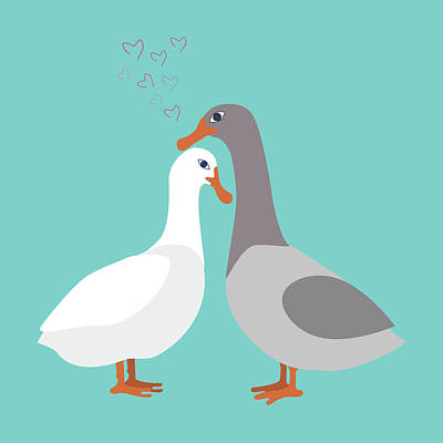Two Ducks In Love Art Print