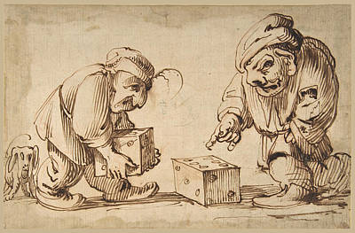 Drawing - Two Dwarfs Playing Dice A Dog At Left  by Attributed to Faustino Bocchi