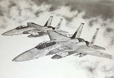 F15 Wall Art - Drawing - Two Eagles by Mark Jennings