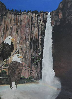 Two Eagles Near The Falls Art Print