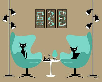 Digital Art - Two Egg Chairs With Cats by Donna Mibus