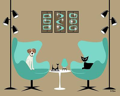 Digital Art - Two Egg Chairs With Dog And Cat by Donna Mibus