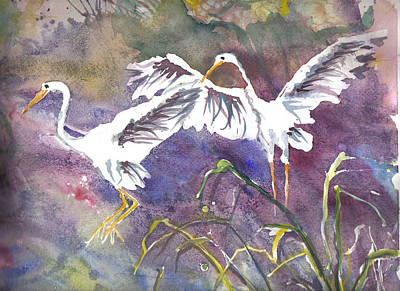 Painting - Two Egrets by Casey Shannon
