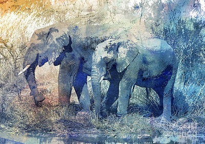 Digital Art - Two Elephants by Jutta Maria Pusl