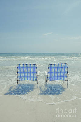Folding Chair Photograph - Two Empty Beach Chairs by Edward Fielding