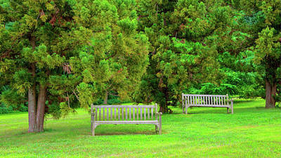 Photograph - Two Empty Benches In Deep Cut Gardens Park by Gary Slawsky
