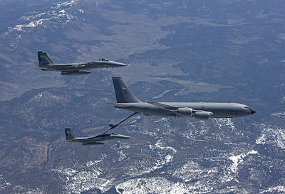 Stratotanker Photograph - Two F-15 Eagles Conduct Aerial by HIGH-G Productions