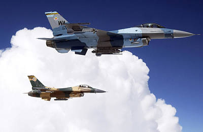 Livery Photograph - Two F-16 Fighting Falcons In Flight by Stocktrek Images