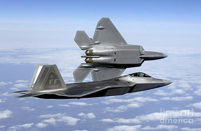 Stealth Photograph - Two F-22a Raptors In Flight by Stocktrek Images