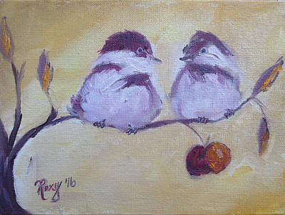Animals Painting - Two Fat Chicks by Roxy Rich