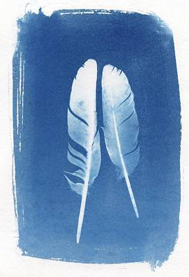 Bohemian Photograph - Two Feathers Cyanotype Sun Print Alternative Process Photography by Jane Linders