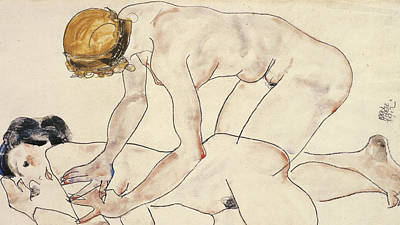 Massage Drawing - Two Female Nudes by Egon Schiele