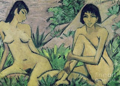 Abstract Expressionist Painting - Two Female Nudes In A Landscape, 1922 by Otto Muller or Mueller