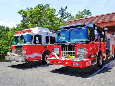 Photograph - Two Fire Engines In Front Of Firehouse by Susan Savad