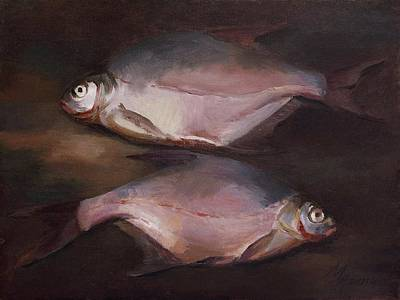 Painting - Two Fish On The Shore by Attila Meszlenyi