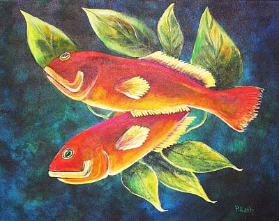 Art Print featuring the painting Two Fish by Patricia Piffath