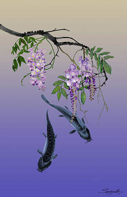 Painting - Two Fish Under A Wisteria Tree by IM Spadecaller