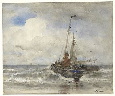 Abstract Painting - Two Fishing Boats At The Beach, Jacob Maris, 1847 - 1899 by Celestial Images