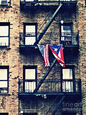 Two Flags In Washington Heights Art Print by Sarah Loft