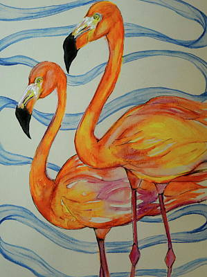 Yellow Beak Painting - Two Flamingos  by Anne Seay