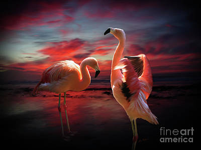Digital Art - Two Flamingos by Lisa Redfern