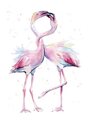 Tropical Wildlife Painting - Two Flamingos Watercolor Famingo Love by Olga Shvartsur