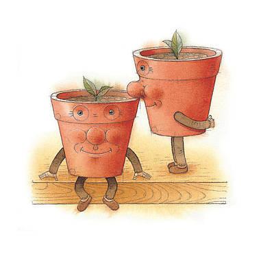 Painting - Two Flowerpots02 by Kestutis Kasparavicius