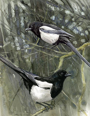 Magpies Painting - Two For Joy by Chris Pendleton