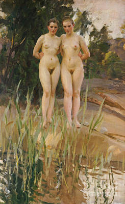Female Bust Painting - Two Friends  by Anders Leonard Zorn