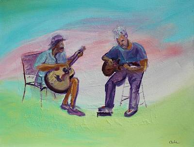 Two Friends Playing Guitar Original
